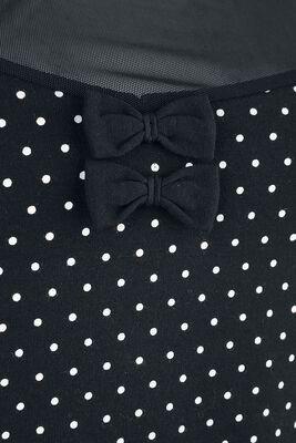 T-Shirt Noir Avec Col Transparent & Pois Blancs