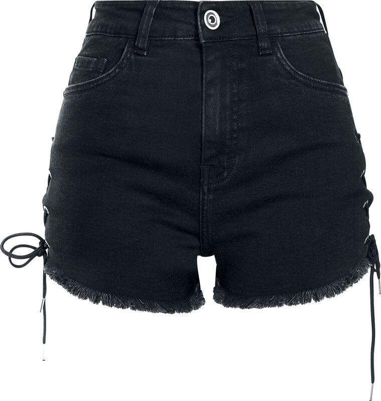 Short En Jean Lacé Taille Haute