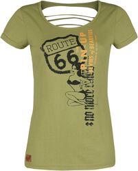 Rock Rebel X Route 66 - T-Shirt Vert Olive Imprimé Pin-Up & Découpes