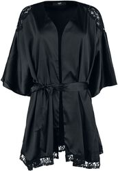 Robe De Chambre Noire Avec Dentelle