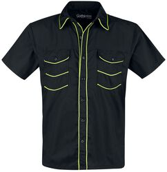 Schwarzes Kurzarmhemd mit neonfarbenen Details