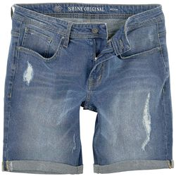 Regular Fit Denim Shorts Destroy Blue