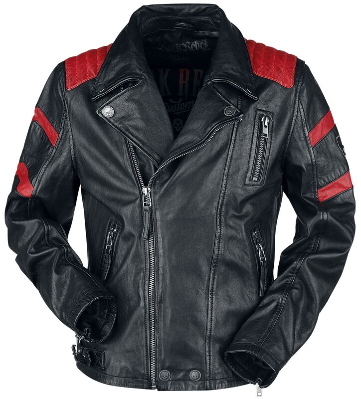Veste En Cuir Motard Rouge/Noir