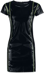 Schwarzes Kleid im Lack Look mit neonfarbenen Details