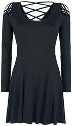 Robe Noire Avec Laçages Décoratifs
