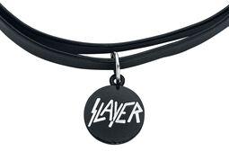 Slayer Double Choker with White Logo Pendant