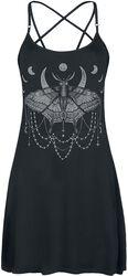 Petite Robe Noire Avec Imprimé & Bretelle Pentagramme