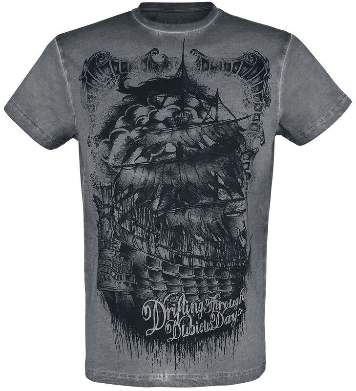 T-Shirt Gris Ras-Du-Cou & Imprimé