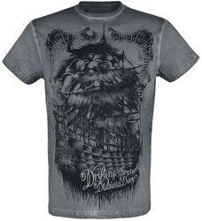 graues T-Shirt mit Rundhalsausschnitt und Print