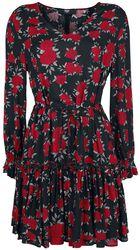 Robe Rouge/Noire Imprimé Floral