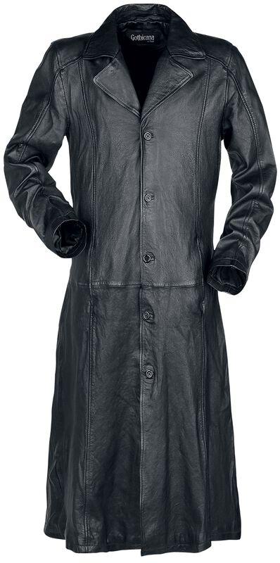 Manteau Long Noir En Cuir Avec Col